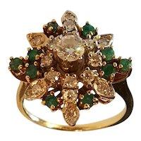 Emerald and Diamond Ring Snowflake Design
