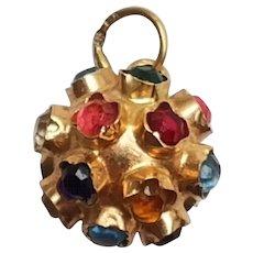 19K Portuguese Gold Multi Gem Pendant