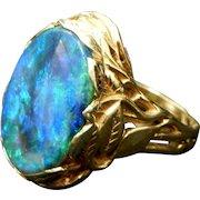 c1915 Tiffany Large Solid Black Opal 14K Gold Ring Grape Vine Design Simply Spectacular