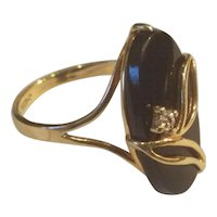 14K Gold Onyx and Diamond Ring