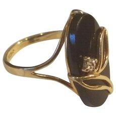 14K Gold Onyx and Diamond Ring