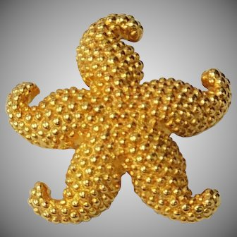 14K Gold Starfish Brooch