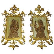 Incredible Art Nouveau Gold Gilt Figural Wall Plaques