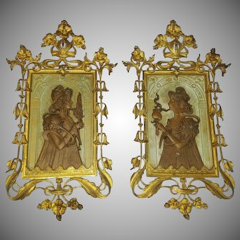 Incredible Art Nouveau Gold Gilt Figural Wall Plaques