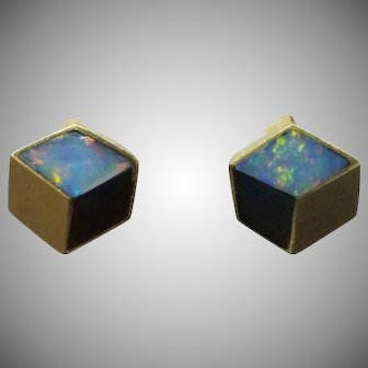 Rare Angela Cummings  18K Gold Opal and Onyx earrings 3D geometric Cube from Private collection
