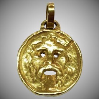 Rare Bulgari 18K Gold Pendant Mouth of Truth Bvlgari