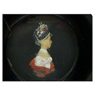 18th c. Miniature Wax Portrait Dated 1775 from the Royalty line Waldburg-Wolfegg-Wolfegg