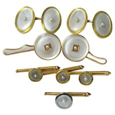 14K Solid Gold Tuxedo Button Hole Cufflink Set