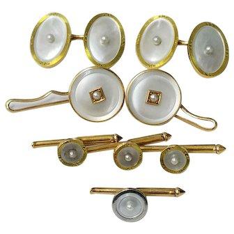 14K Solid Gold Tuxedo Button Hole Cufflink Set