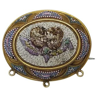 Antique 19K Gold Micro Mosaic Pendant or Brooch Angels or Cherubs