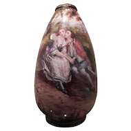 Antique French Hand Painted Glazed Vase of Lovers by a Lake.