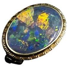 Antique Solid Fiery Black Opal 14K Gold Ring Watch Video