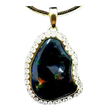 LARGE BLACK OPAL 30 carats Surrounded by 37 Diamonds 1.5 TCW 18K Gold Pendant