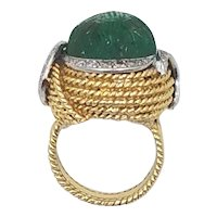 18K Gold Ring with 15 carat Carved Emerald + Diamonds Watch HD Video