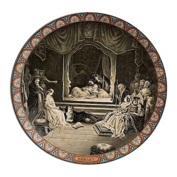 19th. C. Minton Art Pottery Stoneware Charger Plate depicting scene from Hamlet
