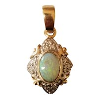 10K Australian Opal and Diamond Pendant