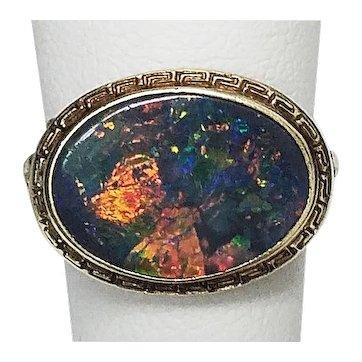 Antique Black Opal 14k Gold Ring HD Quality Video