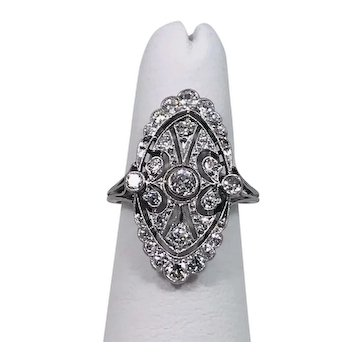 Exquisite Art Deco 18K White Gold Diamond Ring MUST SEE VIDEO