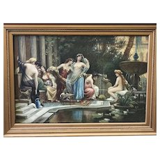 """Antique Painting titled """"Oriental-Life"""" Oil on Canvas NEO CLASSIC"""