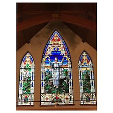 Stained Art Glass Triptych,  by Century Art Glass Company, St. Louis