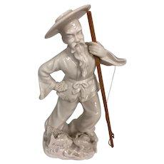 Oriental Fisherman Porcelain Figurine