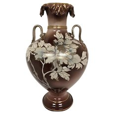 Hand Thrown Ceramic Vase Trimmed in Gold & Trimmed in Silver