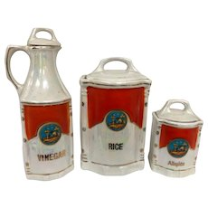 White Block Germany iridescent canister set