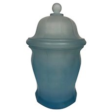 Indiana Glass Satin Frosted Blue Ginger Apothecary Jar.