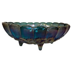 Indiana Carnival Glass footed oval fruit bowl