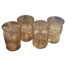 MacBeth Depression Dogwood Pattern Glass Set (4)