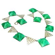"Vintage,  Art Deco ""Egyptian Revival"" Molded Pyramid, Jade Peking Glass Collar Necklace"