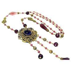 Vintage, Art Deco, Czech Deep Amethyst Glass & Gilded Filigree Sautoir Necklace