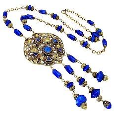 Vintage,  Art Deco, Czech Lapis Art Glass & Gilded Filigree Necklace