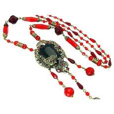 Vintage, Art Deco, Czech Red Glass & Gilded Filigree Sautoir Necklace
