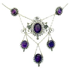 "Antique, Edwardian, Italian, Genuine Amethyst  & ""800"" Silver Filigree Necklace"
