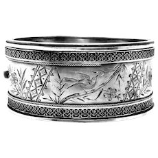 Antique, Victorian, Aesthetic, Swallow~Bamboo Sterling Silver Bracelet