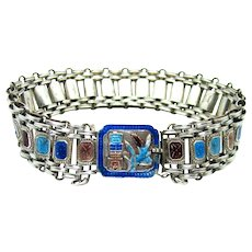 Antique, Chinese, Hallmarked, Enamel & Sterling Silver Bracelet