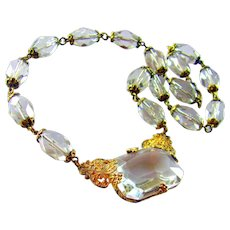 Vintage, Art Deco, Czech Signed, Crystal Glass & Gilded Filigree Necklace