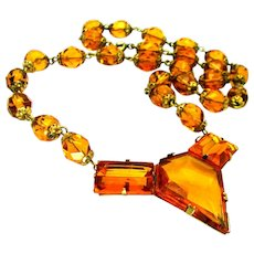 "Vintage, Art Deco, Czech Signed  ""Architectural"" Golden Amber Glass Necklace"