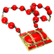 Vintage, Art Deco, Czech Signed, Fire Engine Red Glass & Gilded Necklace