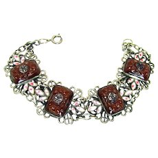 "Vintage, Art Deco, ""Chinese Motif"" Czech Molded Carnelian Glass & Enamel, Filigree Bracelet"