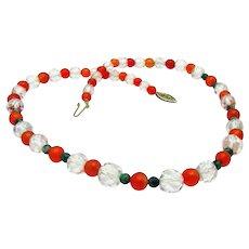 Vintage, Art Deco, Carnelian Agate, Jade & Genuine Rock Crystal, Garland Necklace
