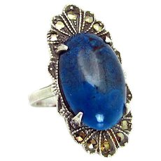 Vintage, 1920's, Art Deco, Sodalite & Marcasite, Sterling Silver Ring