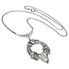 Antique, Belle Époque, German Signed, Silver & Marcasite Lavaliere Necklace
