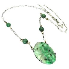 Vintage, Art Deco, Chinese Carved Jade & Sterling Silver Necklace