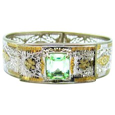 Vintage, Art Deco, Signed Samsan, Peridot Glass & Silver/Gold-Plated Filigree Bracelet