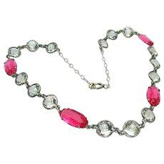 Vintage, Rare, 1920's, Art Deco, Bezel Set, Crystal & Pink Glass, Sterling Silver Necklace