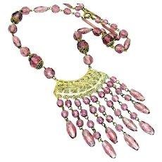 Vintage, Art Deco, Czech Signed , Amethyst Glass & Filigree Fringe Necklace