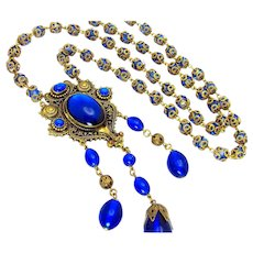 Vintage, Art Deco, Czech Signed, Electric Blue Glass & Gilded Filigree Necklace