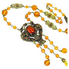 Vintage, Art Deco, Czech, Honey Amber Glass, Gilded Filigree Necklace